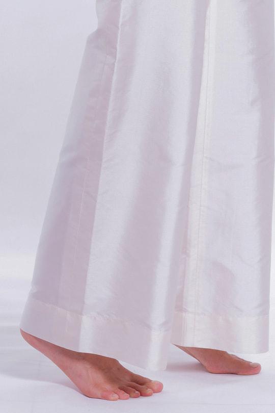 pantalon en soie naturelle blanc, zip invisible sur le côté, fait main au Cambodge