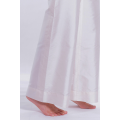white raw silk trousers, invisible zip on the side, handmade in Cambodia