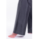 pure silk trousers in black, flared shape, invisible zip on the side, back, handmade in Cambodia