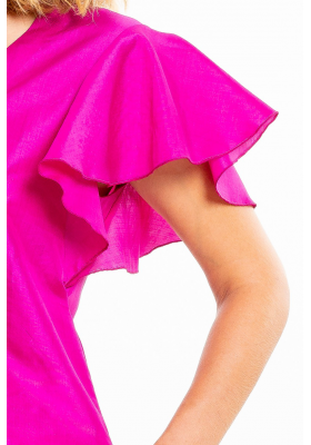 pink dress with short sleeves in natural silk, V neckline, invisible zipper on the side, side pockets