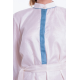 off white light silk dress, Mao collar with contrasting blue edgings on the collar, sleeves and hem, separate belt
