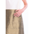 bronze and ivory silk taffeta dress, fitted at the waist, slight ball effect, invisible zipper, lined in silk, Oeko-Tex dye