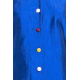 lazuli blue dress in natural silk with colored buttons, three-quarter sleeves, tailored collar, front, fair trade product