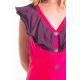 pink and purple dress in natural silk buttoned on the front, handmade in Cambodia