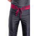 natural silk trousers in black and cherry red, straight leg, invisible zip and removable contrasting belt, fair-trade certified
