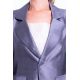 taffeta silk Spencer jacket in grey, flap pockets, open double collar, partly lined in pure cotton