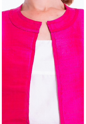 pink natural silk jacket, round flat collar, three-quarter sleeves, no buttons, handwoven traditionally