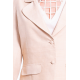 beige jacket in lotus fiber and natural silk, notched-collar and covered buttons, decorative flap pockets, handmade in Cambodia