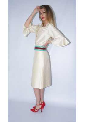 beige taffeta silk mid-length skirt with multicolored belt, ethically made