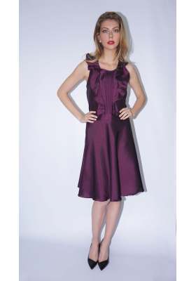 plum taffeta silk dress with frills and ribbed folds, front
