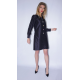 black taffeta silk dress with multicolored buttons, long sleeves