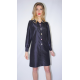 black taffeta silk shirt dress with multicolored buttons, long sleeves, front