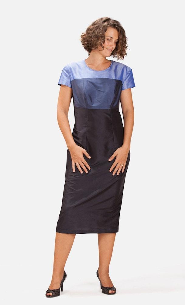 blue color block mid length natural silk dress, short sleeves
