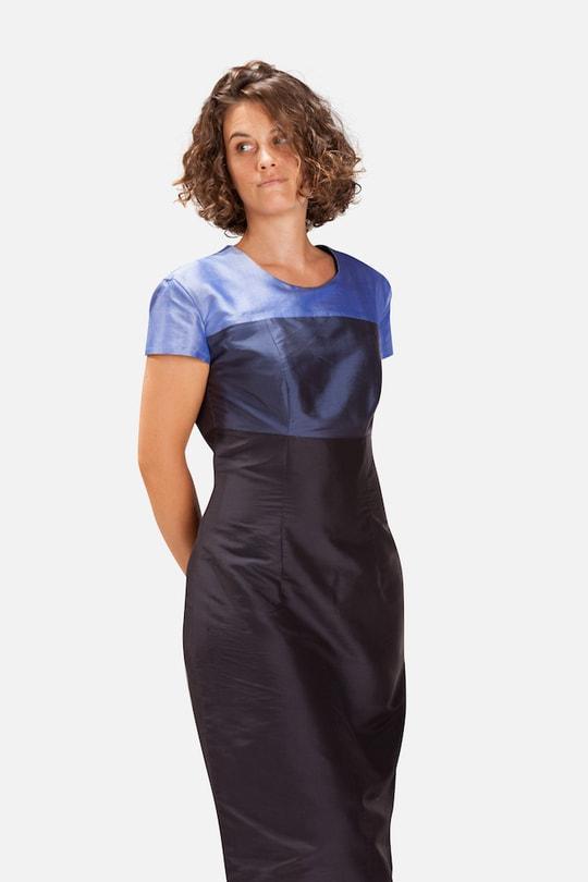 blue color block mid length natural silk dress, short sleeves, handmade