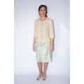 lotus fiber jacket with buttons in natural beige, front