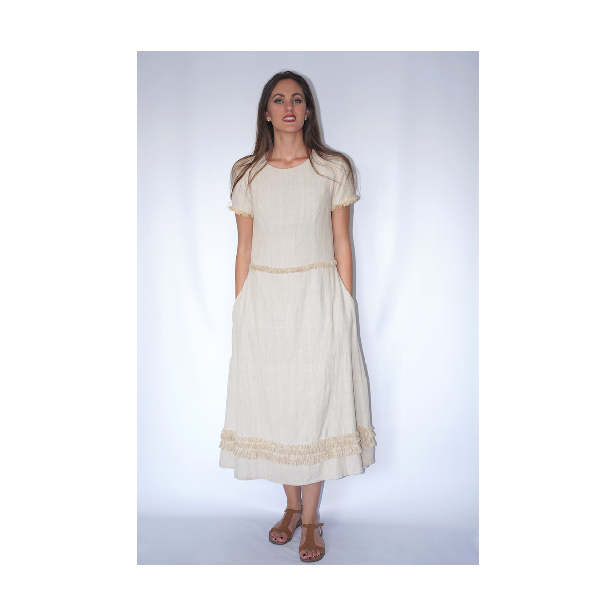 long lotus fiber and cotton dress in natural beige with fringes, front