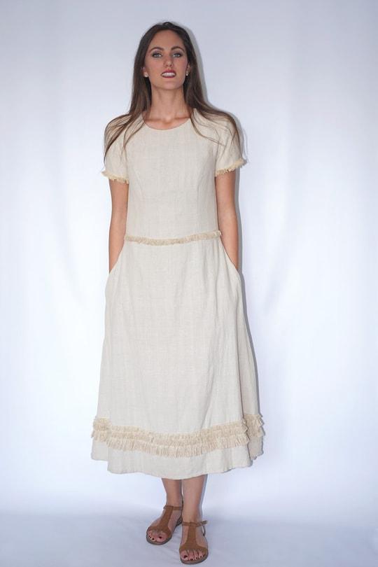 longue robe en fibre de lotus et coton avec franges, devant