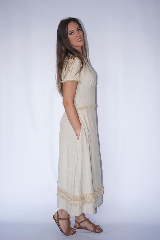 Maxima cotton and lotus dress