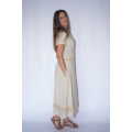 long lotus fiber and cotton dress in natural beige with fringes