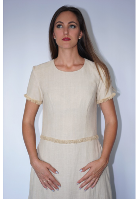 long lotus fiber and cotton dress in natural beige with fringes ethically made