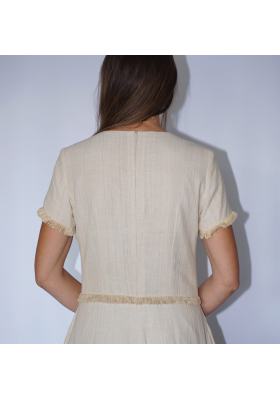 long lotus fiber and cotton dress in natural beige with fringes, back