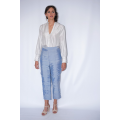 silver grey shirt in natural silk fair trade certified and handmade, blue silk pants, front