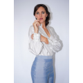 silver grey shirt in natural silk fair trade certified and handmade with fringed cuff, blue silk pants