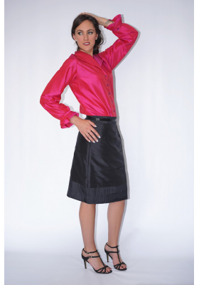 pink natural silk shirt with mother-of-pearl buttons and frills cuff handmade in Cambodia and black silk skirt