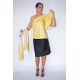one shoulder natural silk top with draped sleeve sustainably made, black silk skirt and raw silk yellow and white scarf