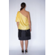one shoulder natural silk top with draped sleeve and black silk skirt, back