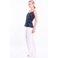 black natural silk caraco handmade with off white silk trousers