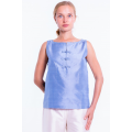 blue natural silk top with Mao buttonholes