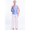 blue raw silk top with Mao buttonholes and off white silk trousers