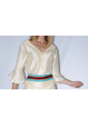 taffeta natural silk blouse with flared sleeves