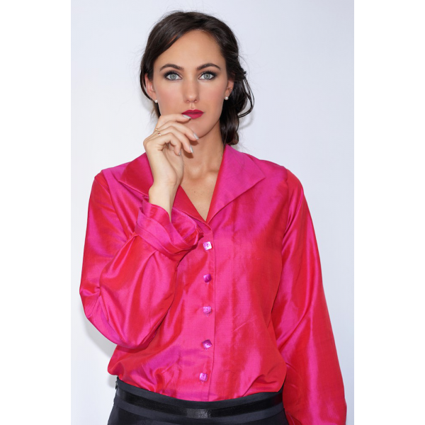 pink natural silk blouse with mother-of-pearl buttons and frills cuff