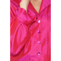 pink natural silk shirt with mother-of-pearl buttons and frills cuff handmade in Cambodia