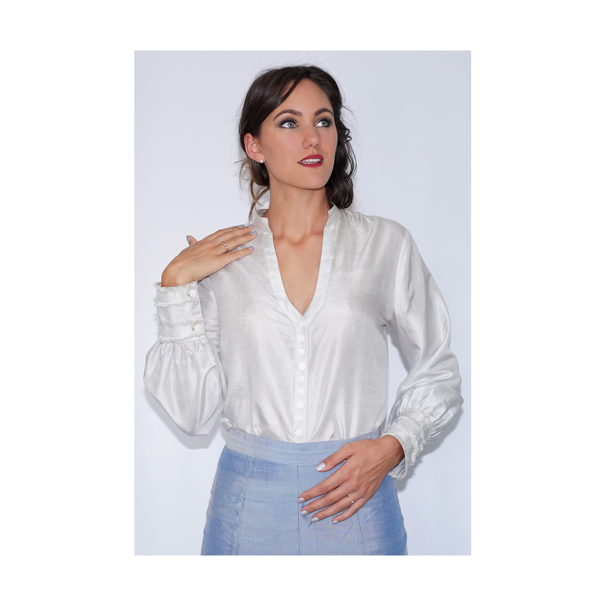 silver grey blouse in natural silk fair trade certified