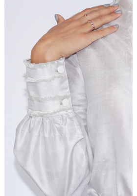 silver grey blouse in natural silk fair trade certified with fringed cuff
