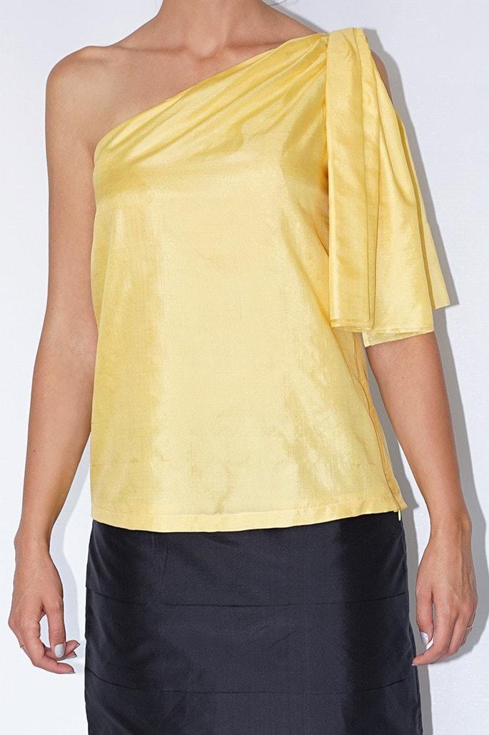 yellow asymmetric natural silk top