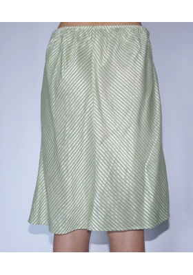 middle length lotus fiber and silk skirt with white and green stripes, back