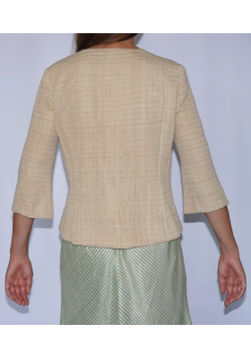 lotus fiber jacket with buttons in natural beige, back