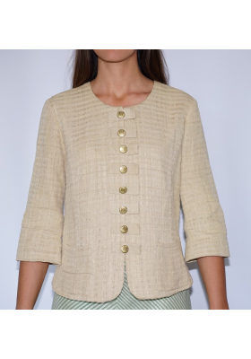lotus fiber jacket with buttons in natural beige