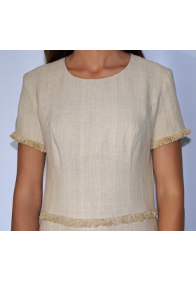 long lotus fiber and cotton dress in natural beige with fringes sustainably made