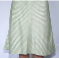 middle length lotus fiber and silk skirt with white and green stripes, front