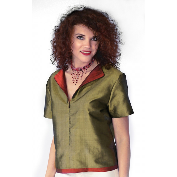 pure taffeta silk top bronze and cherry, lined with silk, short sleeves, fair-trade certified