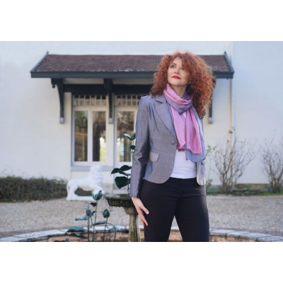 Gray and pink silk scarf