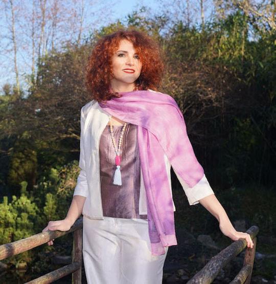 Écharpe en soie rose et mauve