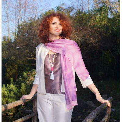 Pink and mauve silk scarf