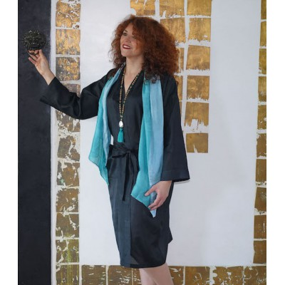 Turquoise and blue sky silk scarf